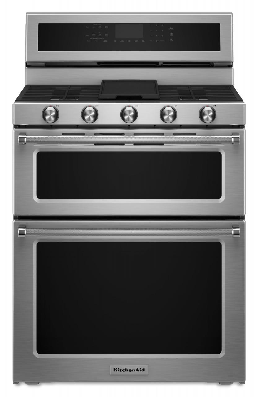 Kitchenaid 30 Free Standing Dual Fuel Double Oven Range Stainless Steel Kfdd500ess