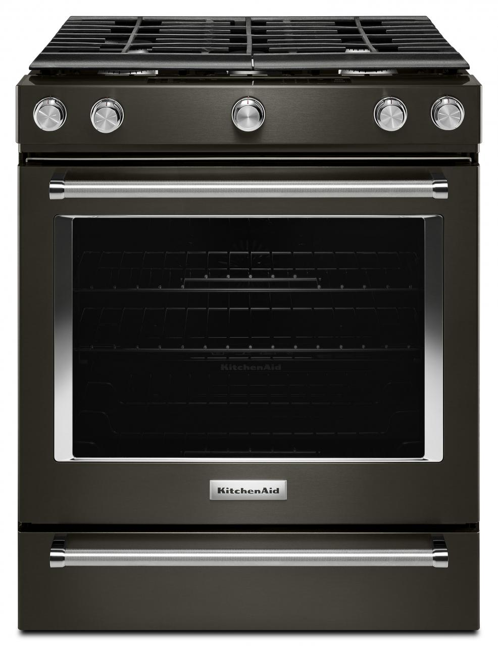 "KitchenAid® 30"" Slide In Gas Range-Black Stainless-KSGG700EBS"
