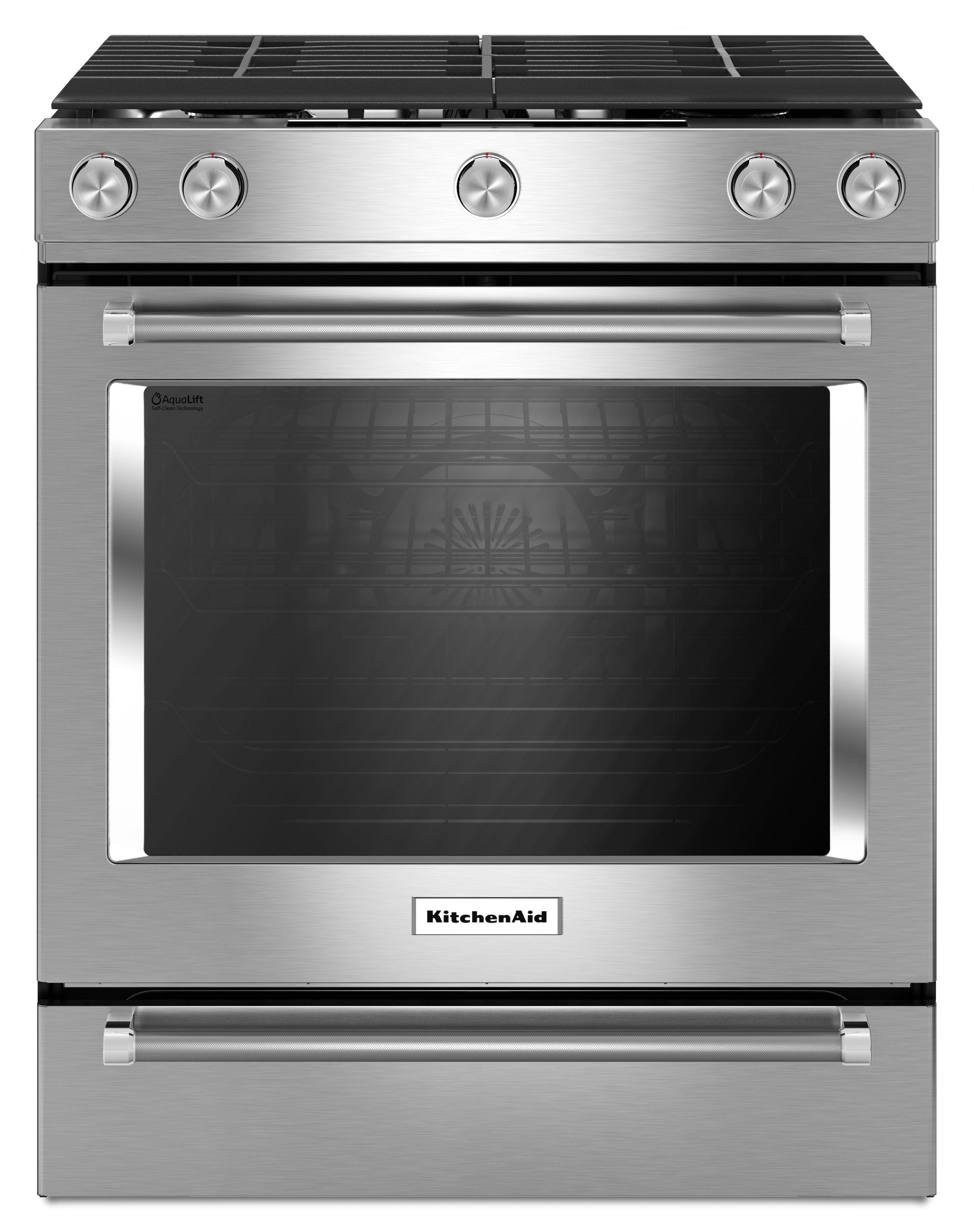 """KitchenAid® 30"""" Slide In Gas Range-Stainless Steel-KSGG700ESS"""