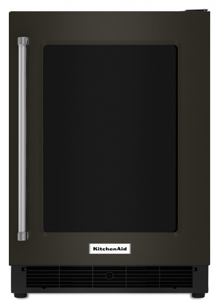 KitchenAid® Black 5.1 Cu. Ft. Undercounter Refrigerator Black On  Stainless KURR304EBS