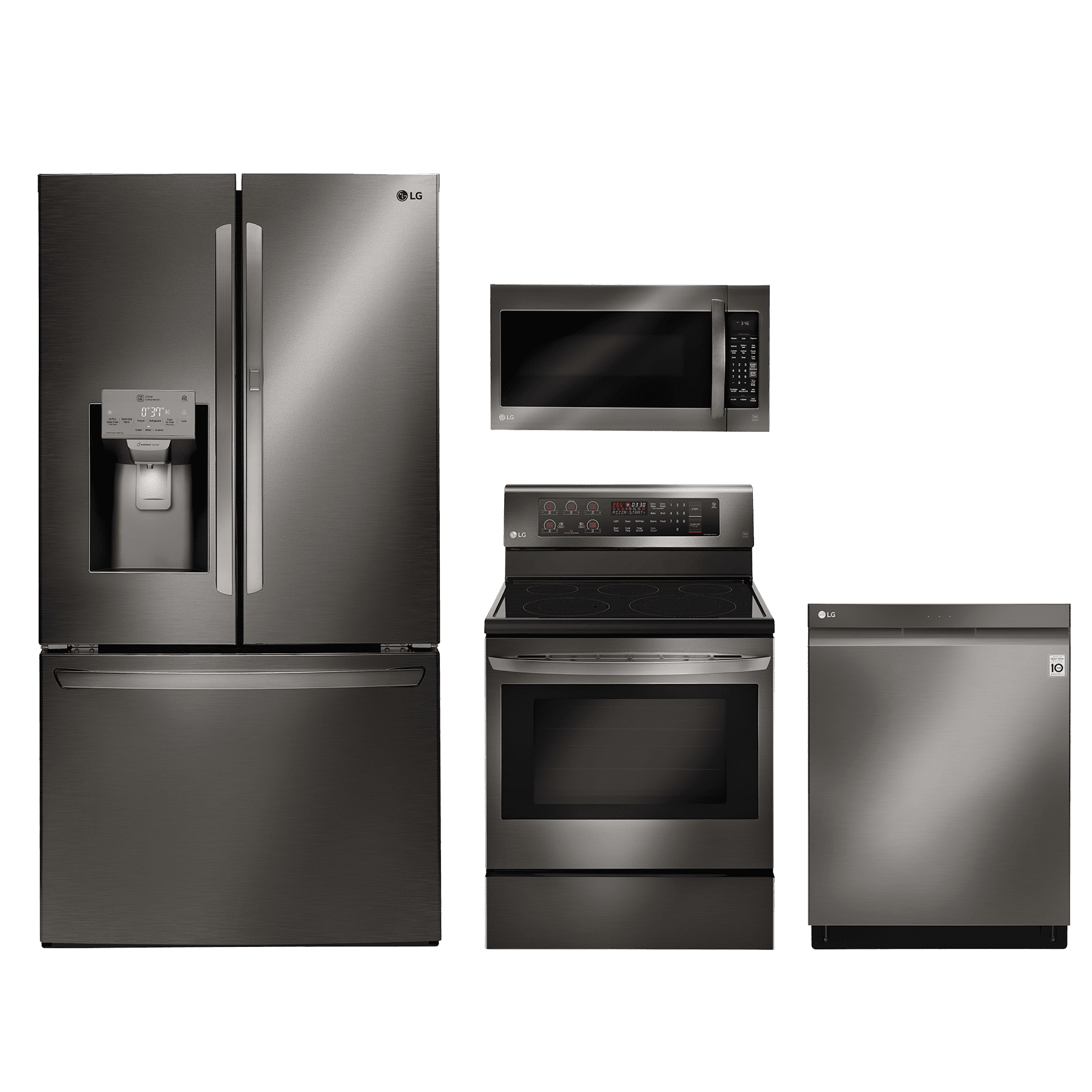 Ordinaire LG 4 Piece Kitchen Package Black Stainless Steel LGKITLRE3193BD