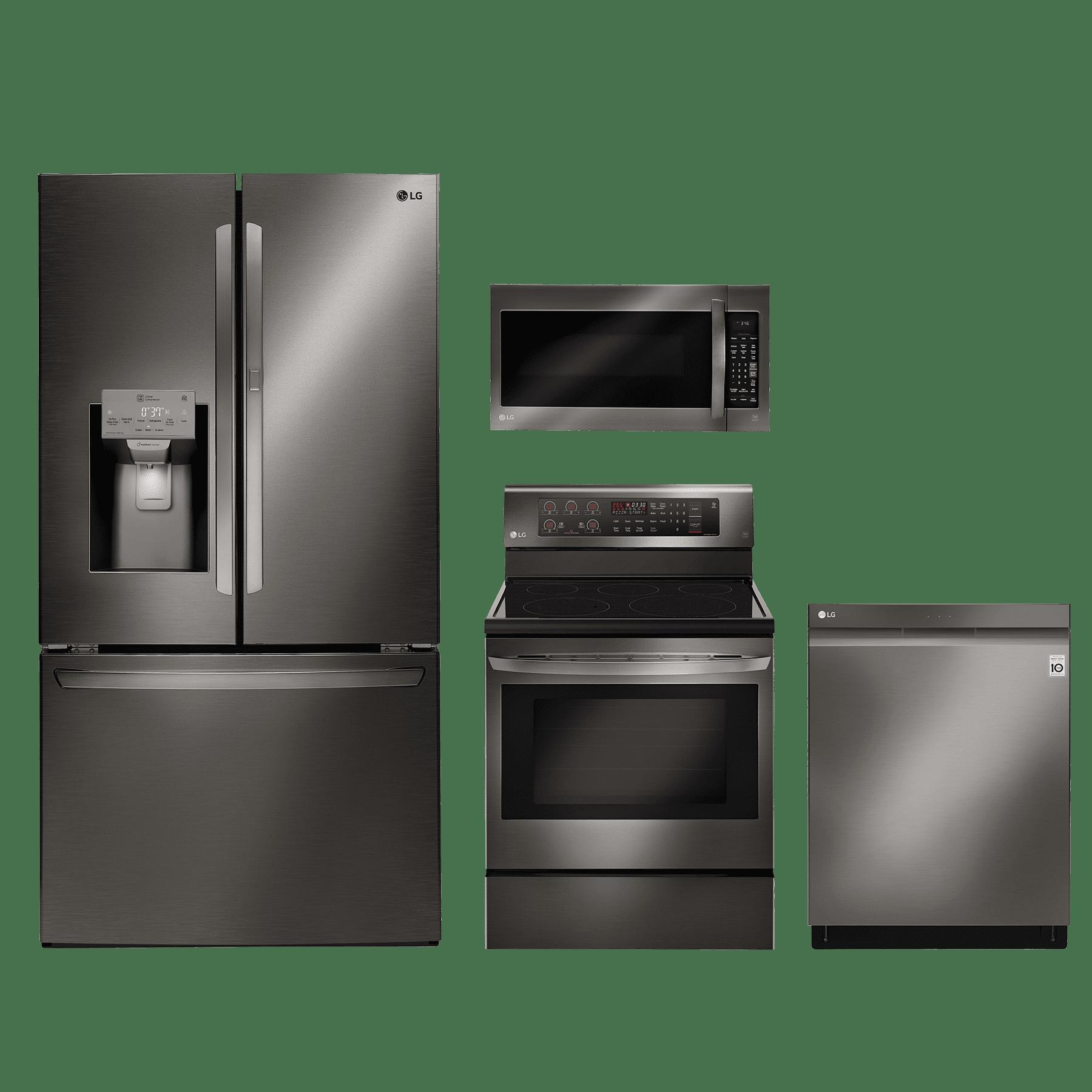 Lg 4 Piece Kitchen Package Black Stainless Steel Lgkitlre3193bd