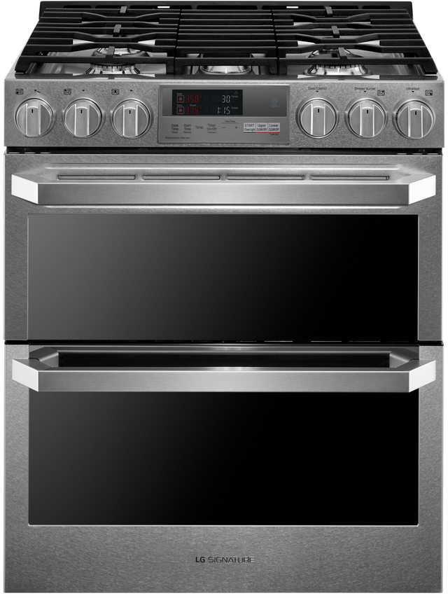 Lg Signature 29 88 Textured Steel Slide In Dual Fuel Double Oven