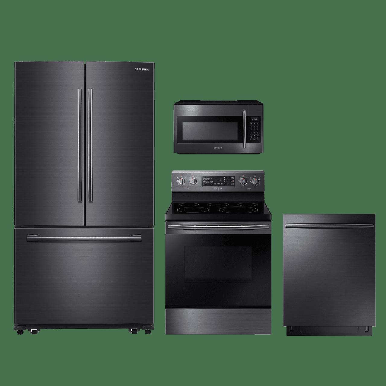 Black Stainless Steel Kitchen Appliances: Samsung 4 Piece Kitchen Package-Black Stainless Steel