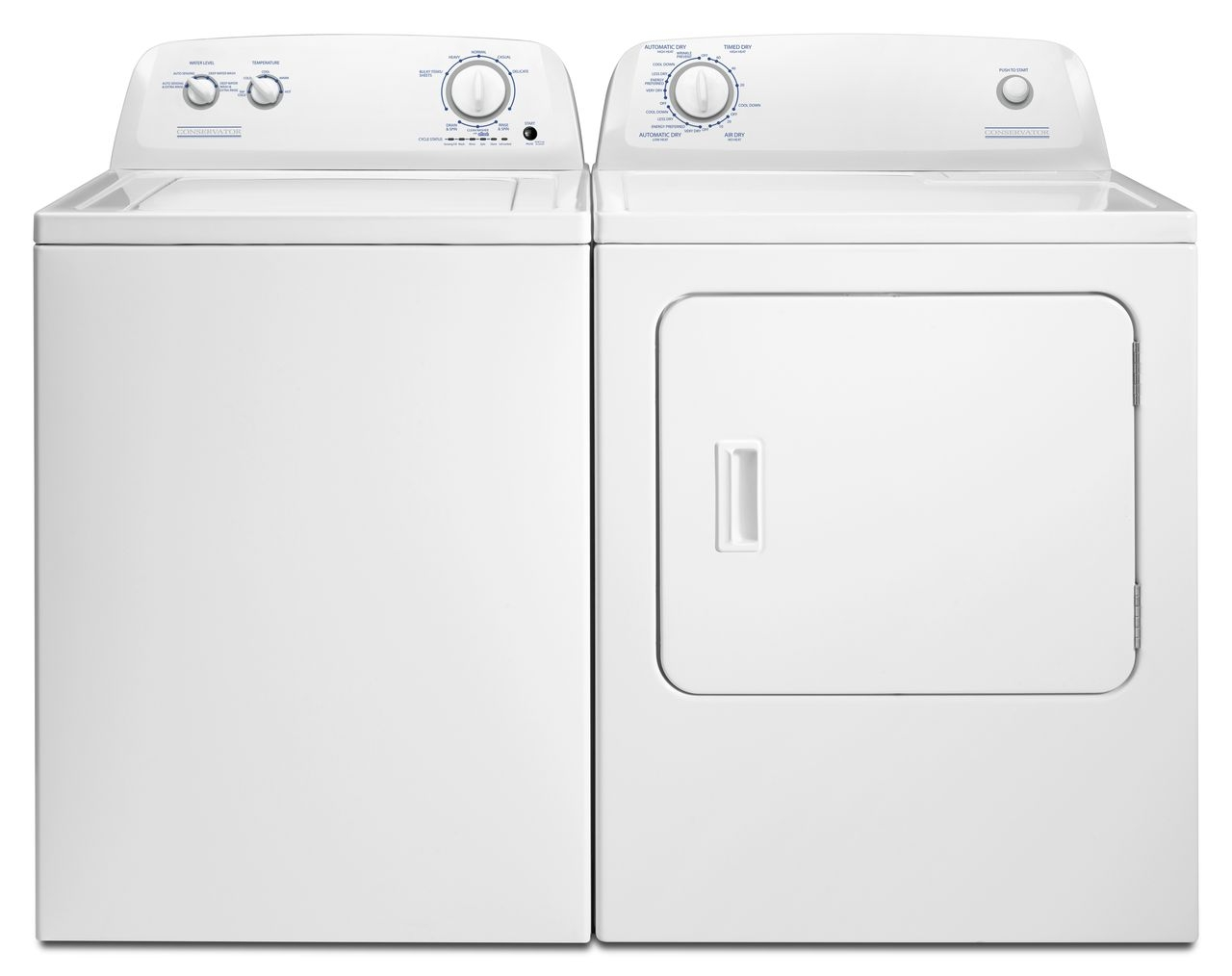 Conservator By Crosley Top Load Laundry Pair White Vaw3584gw Ved6505gw