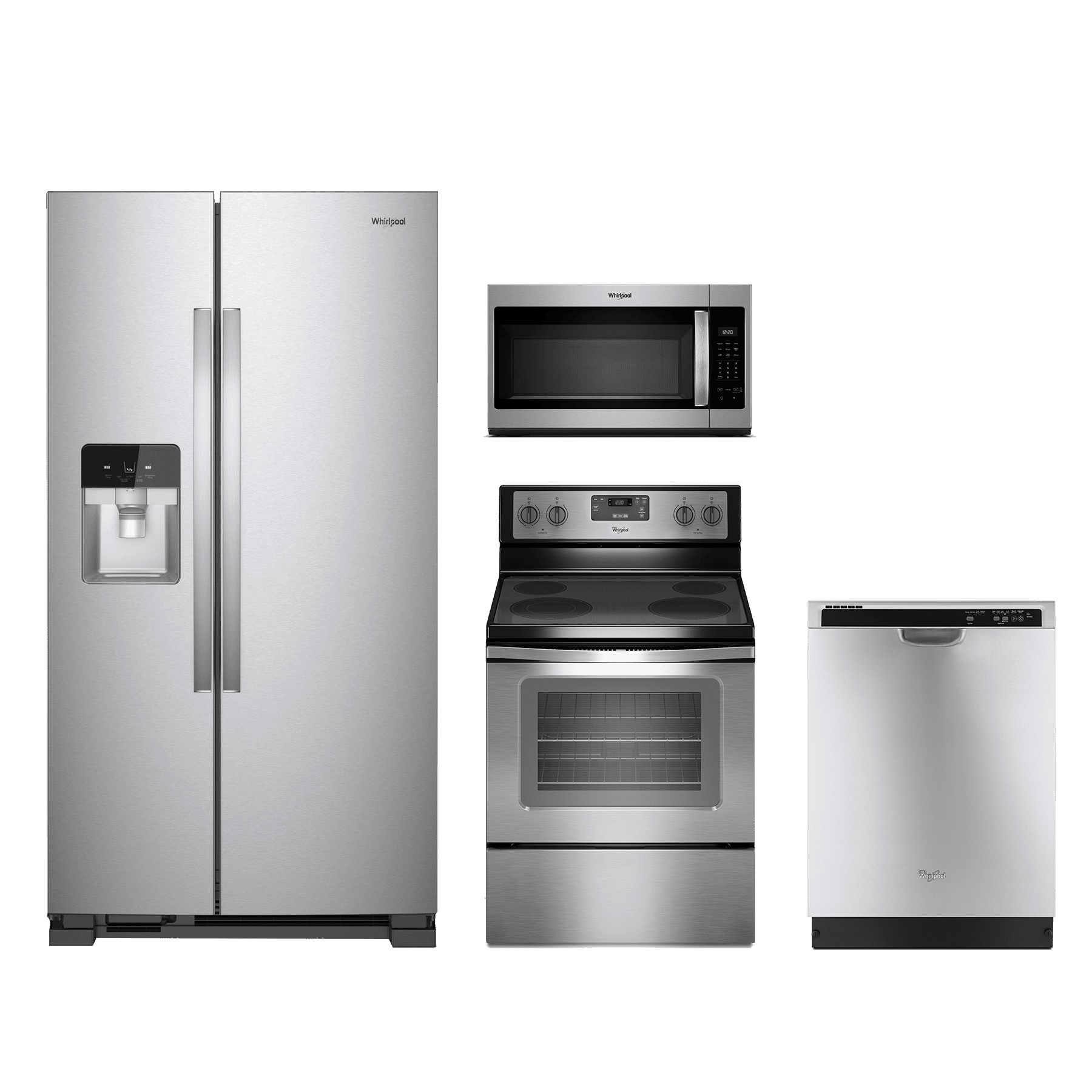 whirlpool 4 piece kitchen package stainless steel whkitwfe320m0es home appliance kitchen. Black Bedroom Furniture Sets. Home Design Ideas