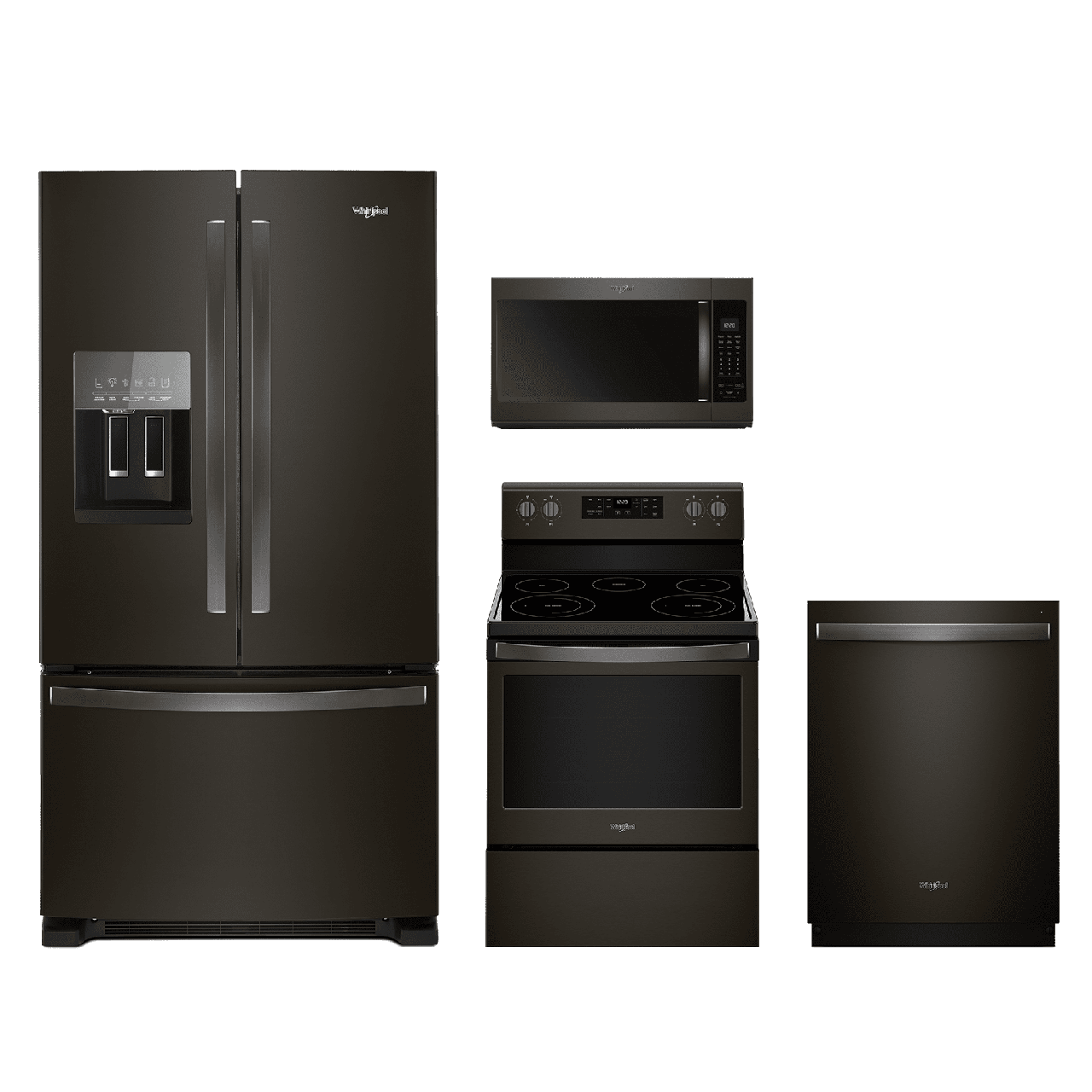 Whirlpool® 4 Piece Kitchen Package Fingerprint Resistant Black Stainless  Steel WHKITWFE525S0HV