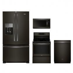 Whirlpool® 4 Piece Kitchen Package Fingerprint Resistant Black Stainless  Steel WHKITWFE525S0HV