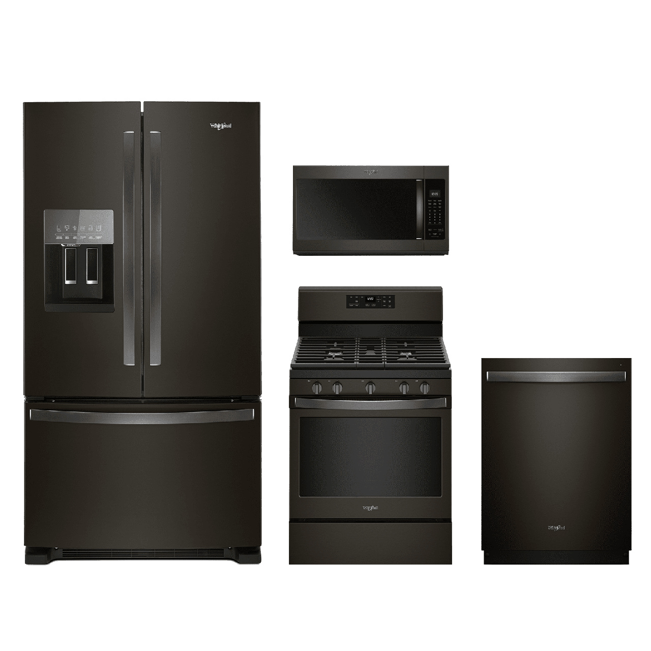 Merveilleux Whirlpool® 4 Piece Kitchen Package Fingerprint Resistant Black Stainless  Steel WHKITWFG525S0HV