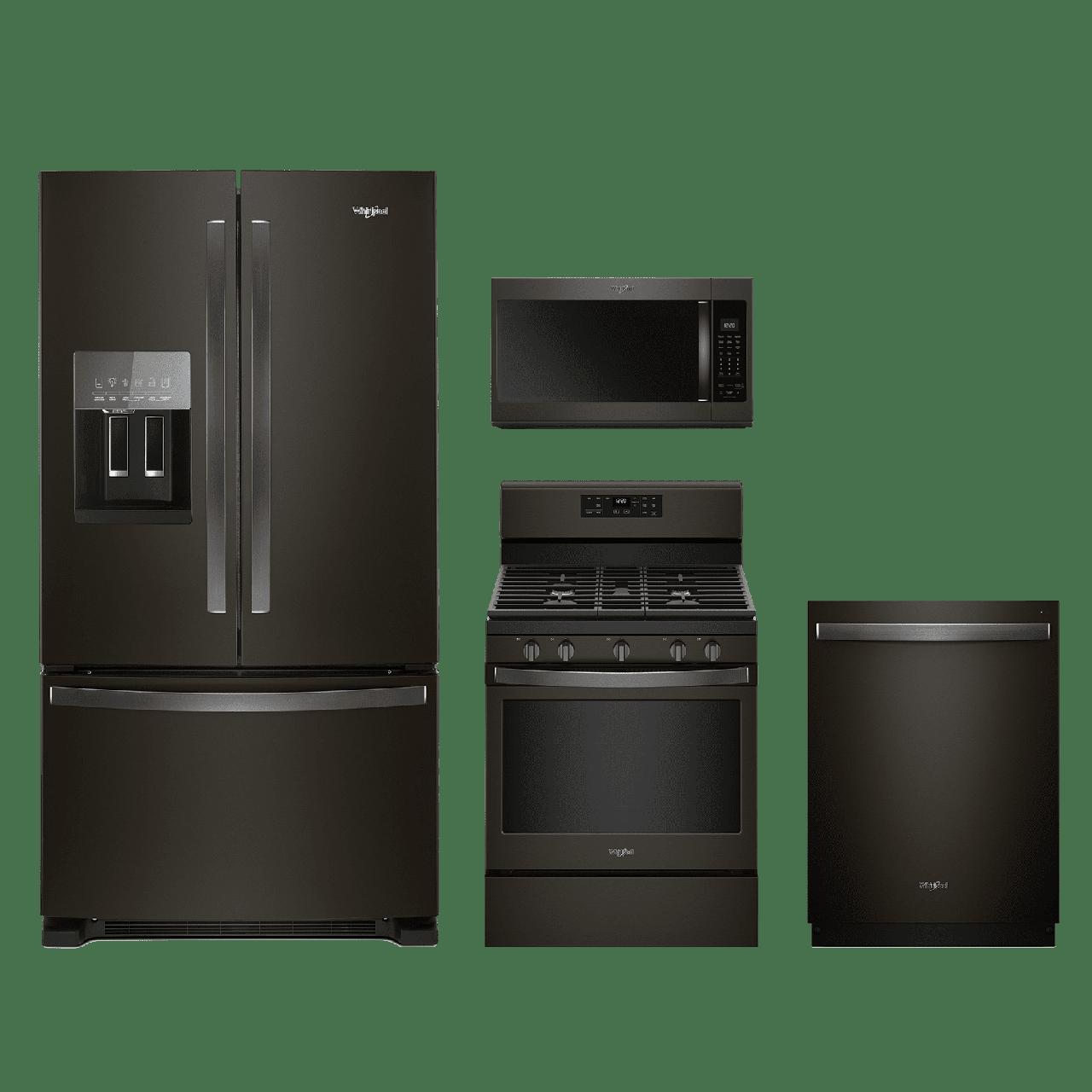 Whirlpool 4 Piece Kitchen Package Fingerprint Resistant Black Stainless Steel Whkitwfg525s0hv