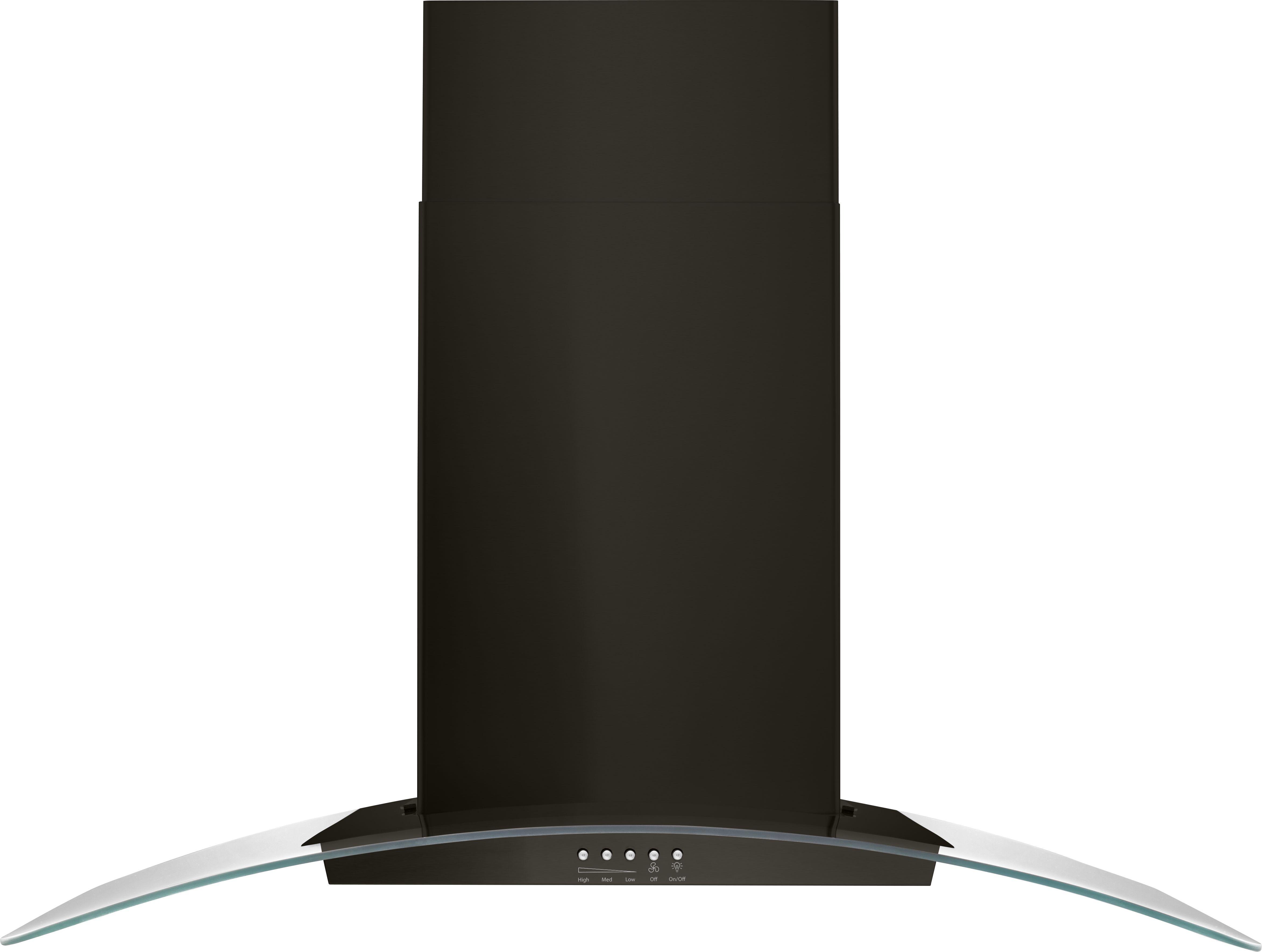 Kitchenaid 36 Concave Glass Wall Mount Range Hood Black Stainless Wvw51uc6hv Ka