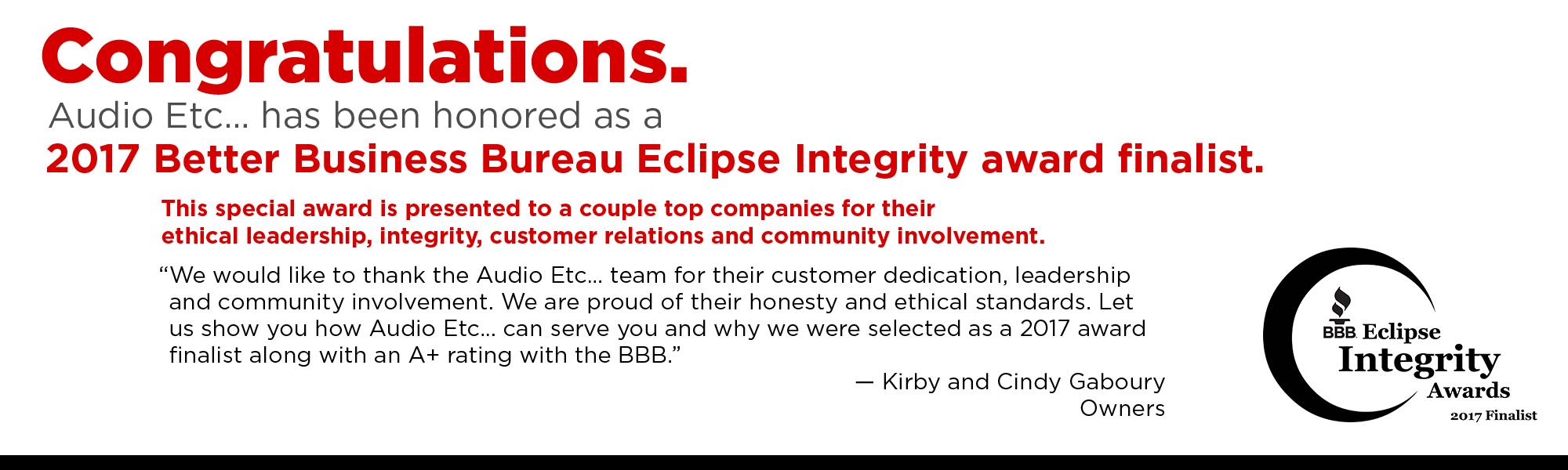 BBB Eclipse Award Finalist