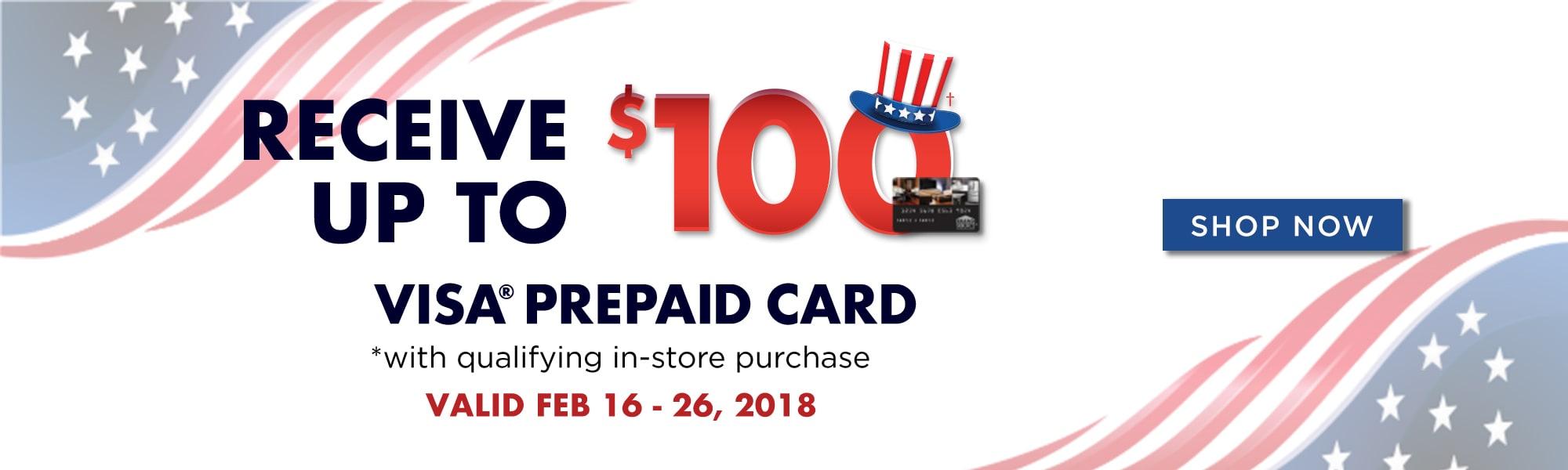 Receive up to $100 Visa Prepaid Card