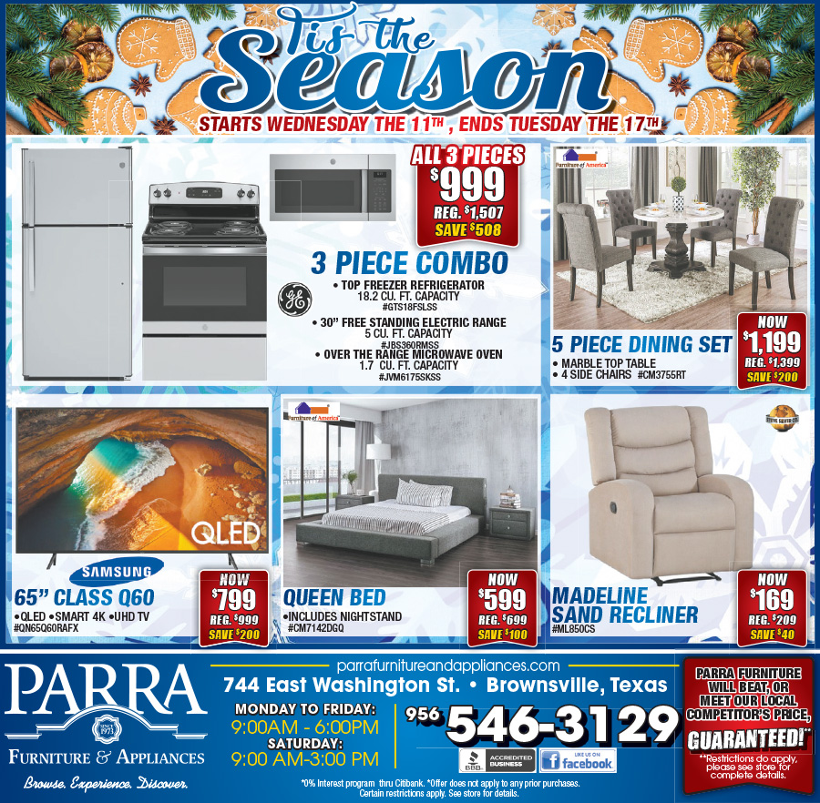 Parra Furniture Amp Appliance Weekly Ad Appliances