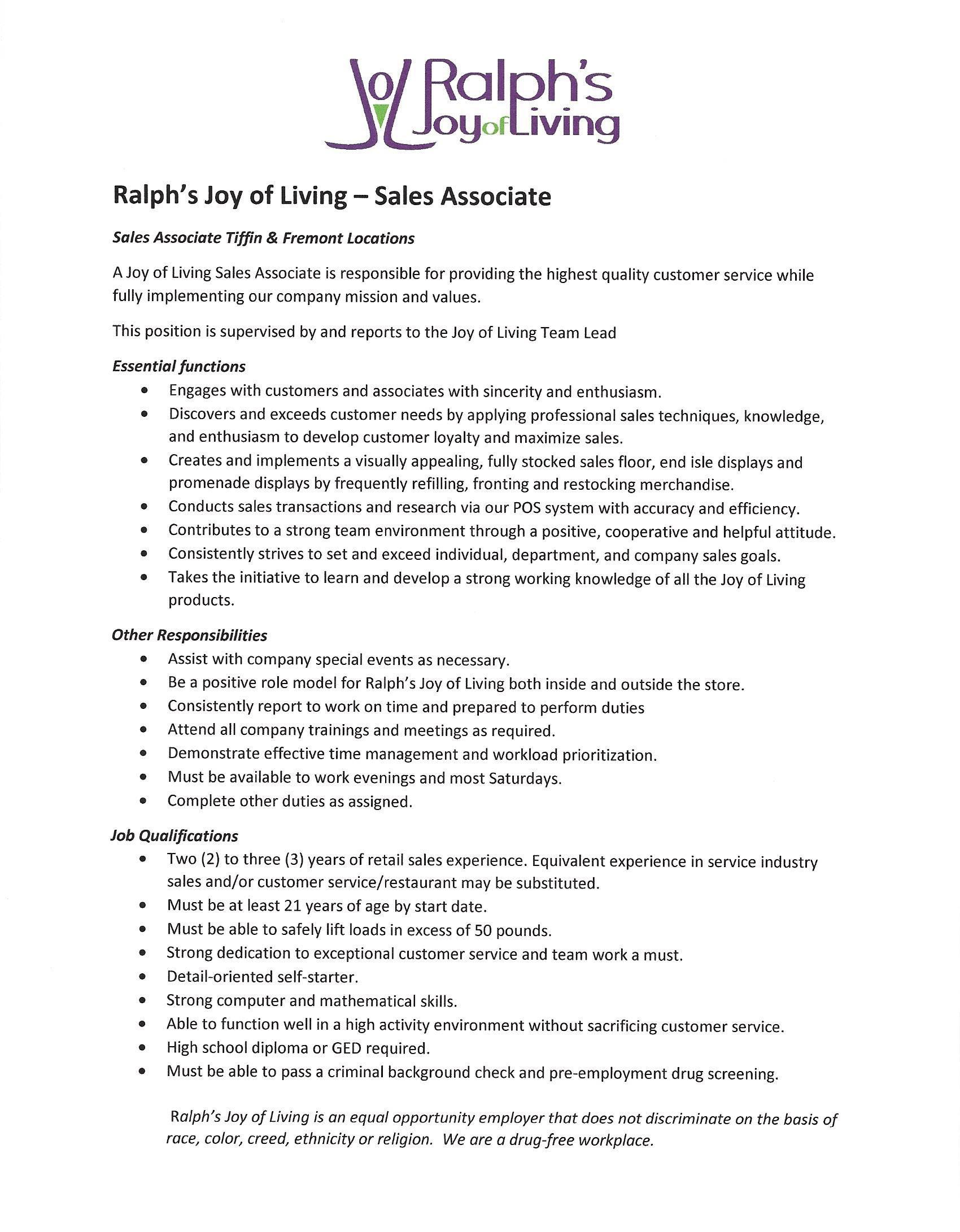 Sales Associate Description