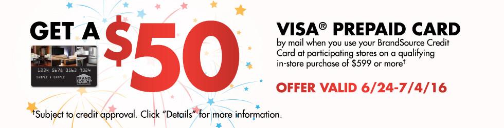 BrandSource $50 VISA Prepaid Card