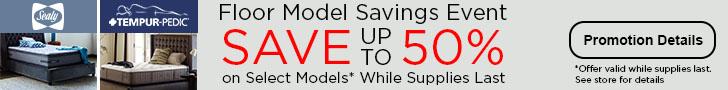 Tempur-Pedic & Sealy Floor Model Savings Event